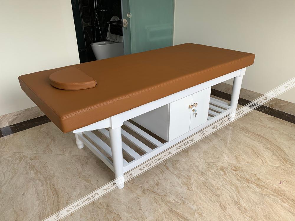 Giường spa chân tròn màu trắng đẹp cho spa giá rẻ tại xưởng sản xuất