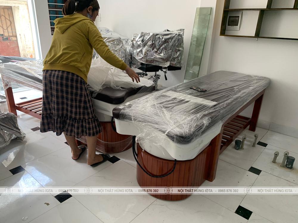 Lắp đặt giường gội salon tóc bồn sứ tại Hà Đông đẹp giá rẻ