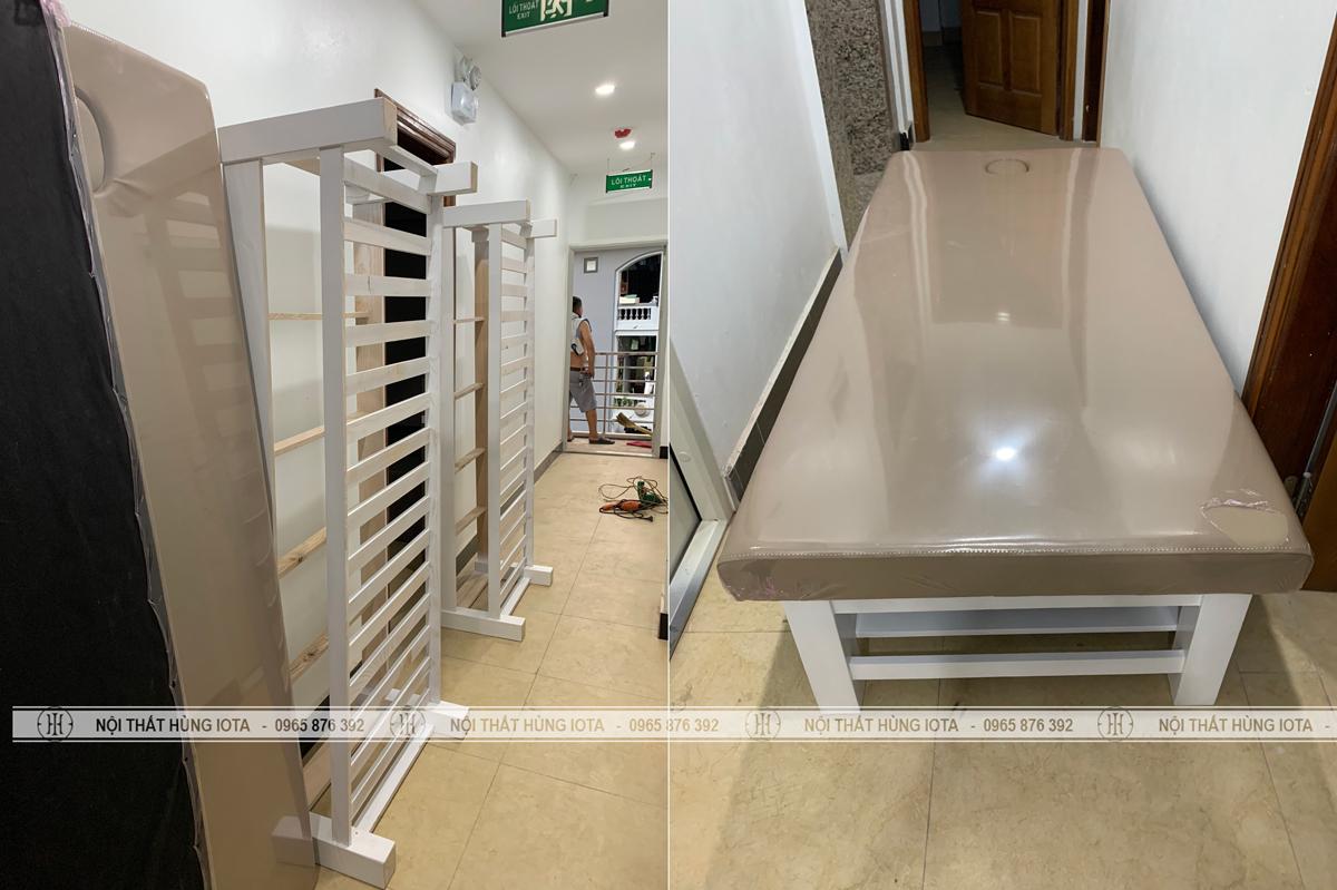 Lắp đặt giường spa, giường massage gỗ sồi màu trắng tại Hà Nội