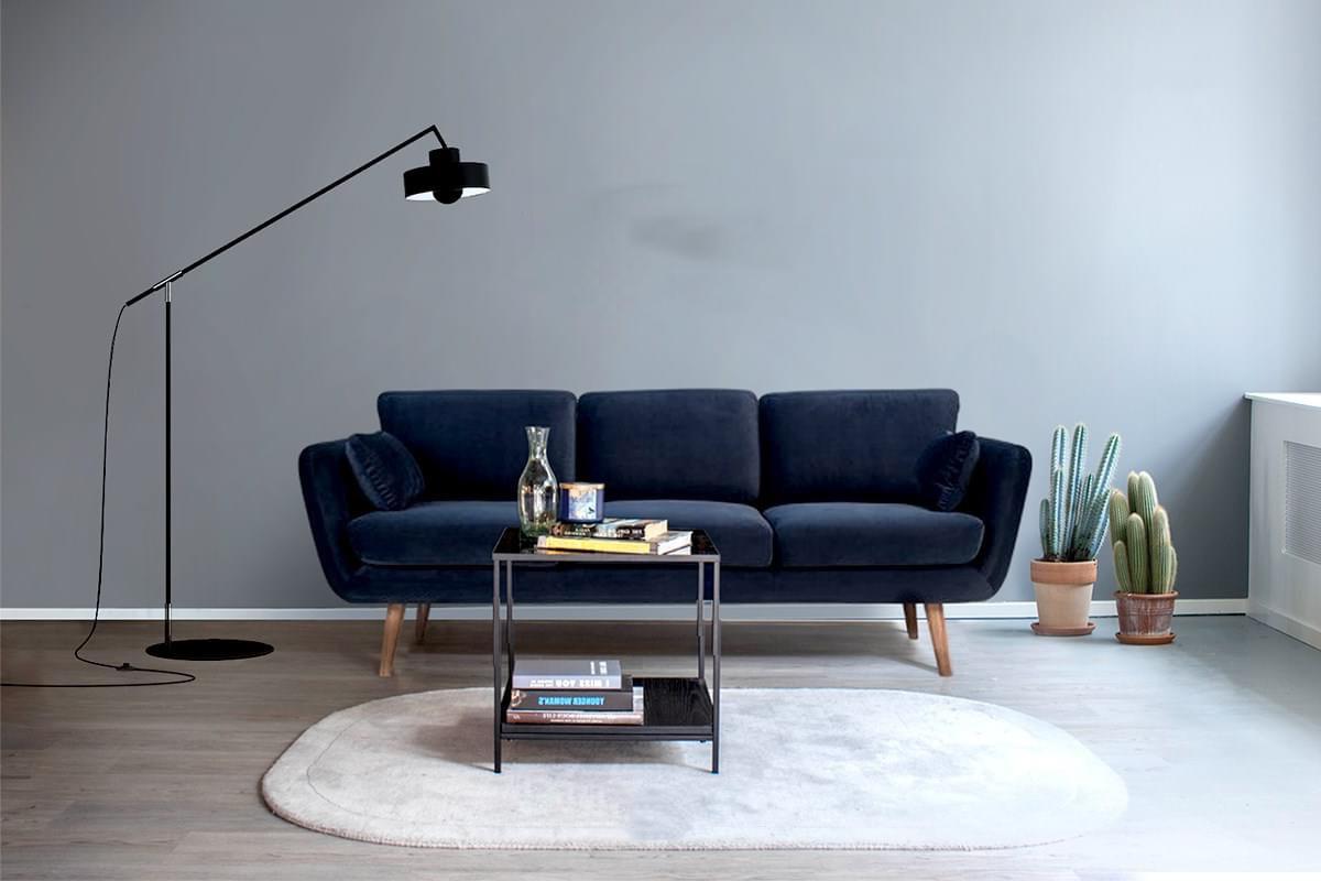 Lắp đặt sofa gia đình màu xanh navy sang trọng đep tinh tế