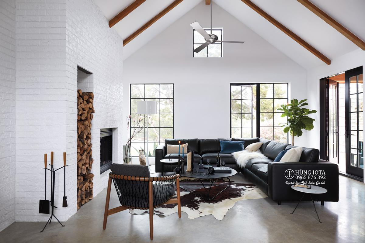 Sofa chữ L chất da màu đen hay sofa chung cư chữ L màu đen