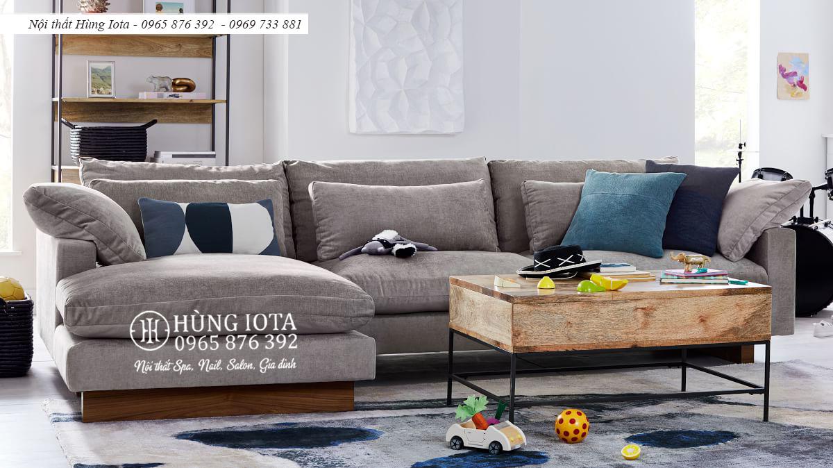 Sofa chữ L cho chung cư màu xám đen đẹp giá xưởng