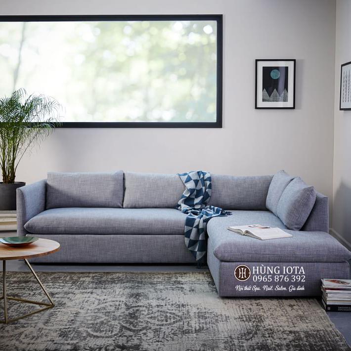 Sofa chữ L màu tím nhạt cho gia đình, căn hộ chung cư