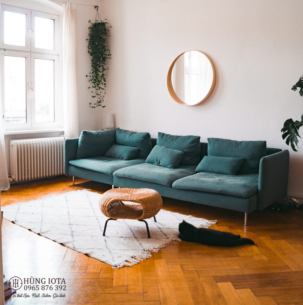 Sofa chung cư decor màu xanh lục đẹp giá rẻ cho gia đình