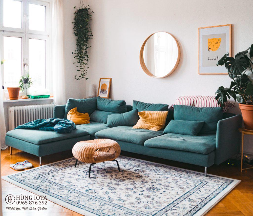 Sofa chung cư màu xanh lục decor đẹp giá xưởng