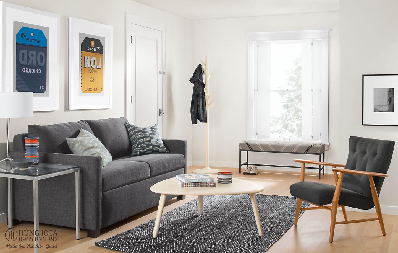 Sofa chung cư bọc nỉ đẹp vuông vắn màu đen xám