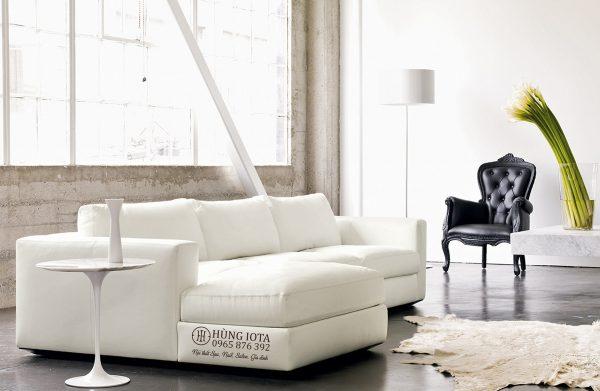 Sofa chung cư chất da kiểu dáng chữ L đẹp giá tại xưởng