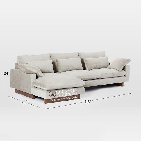 Sofa chung cư chữ La chân thấp màu xám nhạt