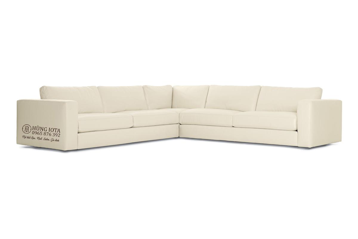 Sofa chung cư chất L chất da màu trắng sữa đẹp giá xưởng