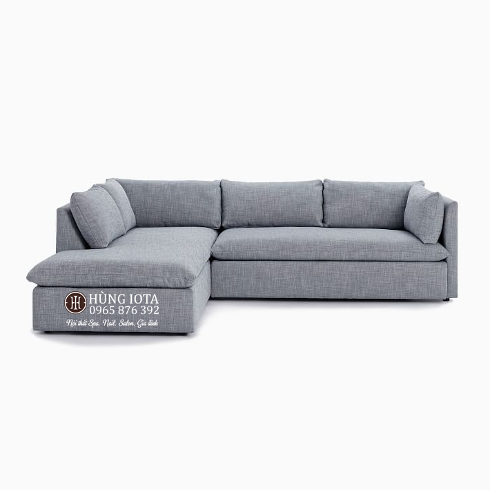 Sofa chung cư chữ L chất nỉ màu tím nhạt đẹp giá xưởng