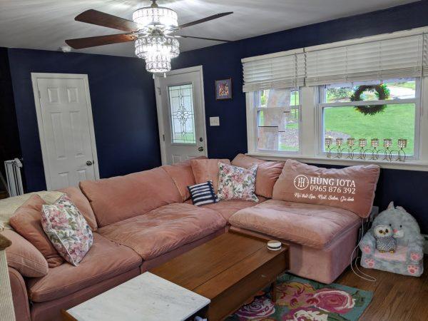 Sofa chung cư chữ L màu hường đẹp giá rẻ tại xưởng