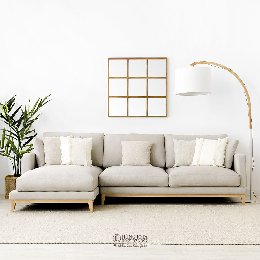 Sofa chung cư decor chữ L màu trắng đục giá rẻ