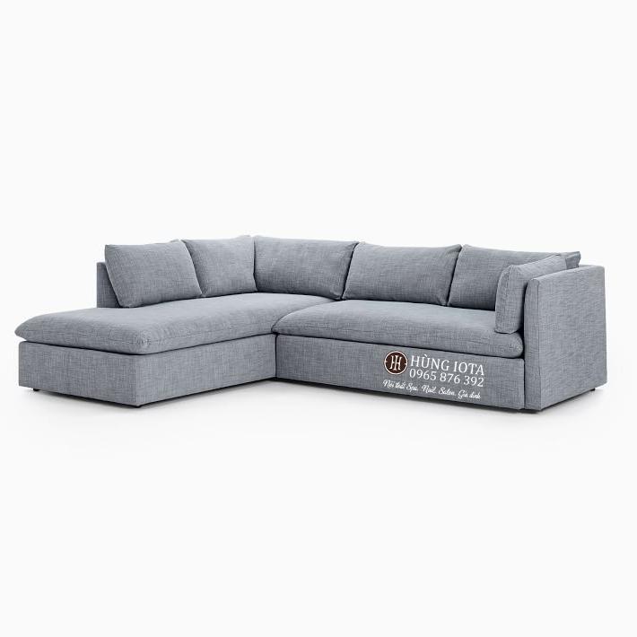 Sofa chung cư kiểu chữ L màu tím xám đẹp giá tại xưởng