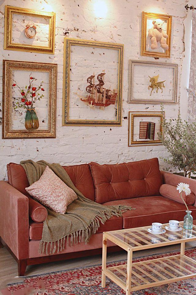 Sofa chung cư màu đỏ sang trọng đẹp giá rẻ phong cách tân cổ điển