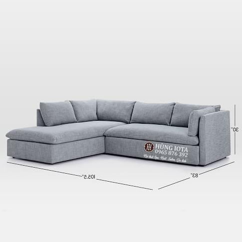 Sofa chung cư màu tím nhạt kiểu dáng chữ L đẹp giá xưởng