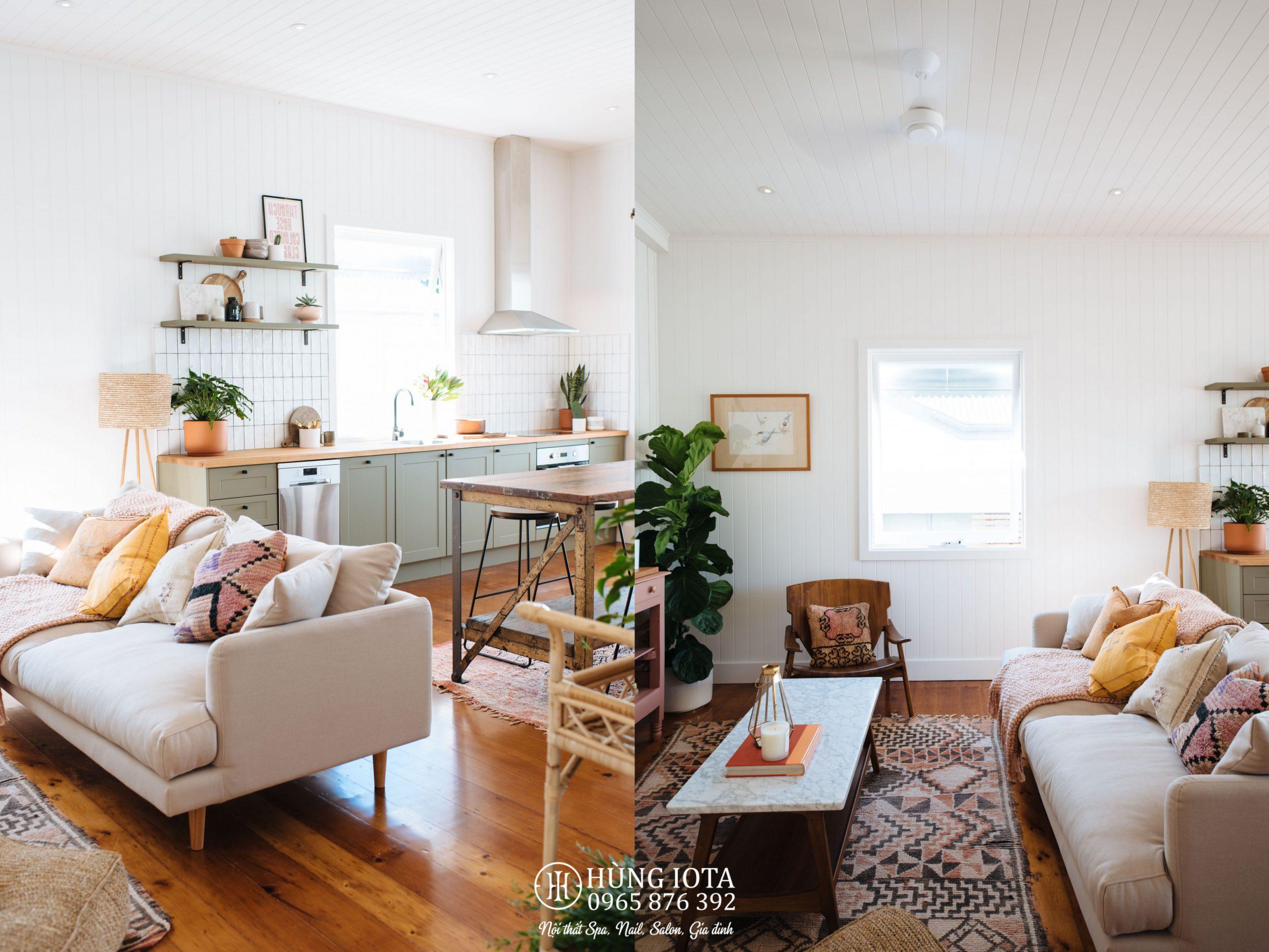 Sofa chung cư màu trắng hồng decor đep giá tại xưởng