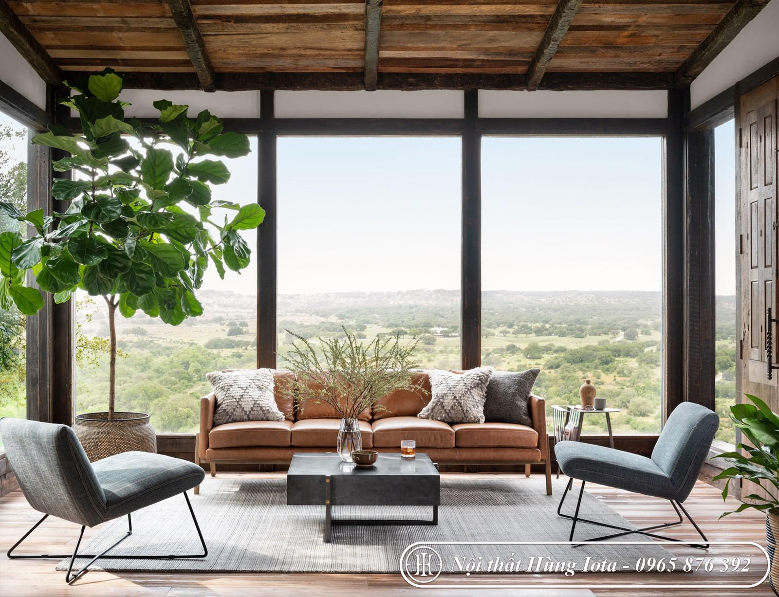 Sofa chung cư sang trọng chất da màu nâu đẹp tinh tế