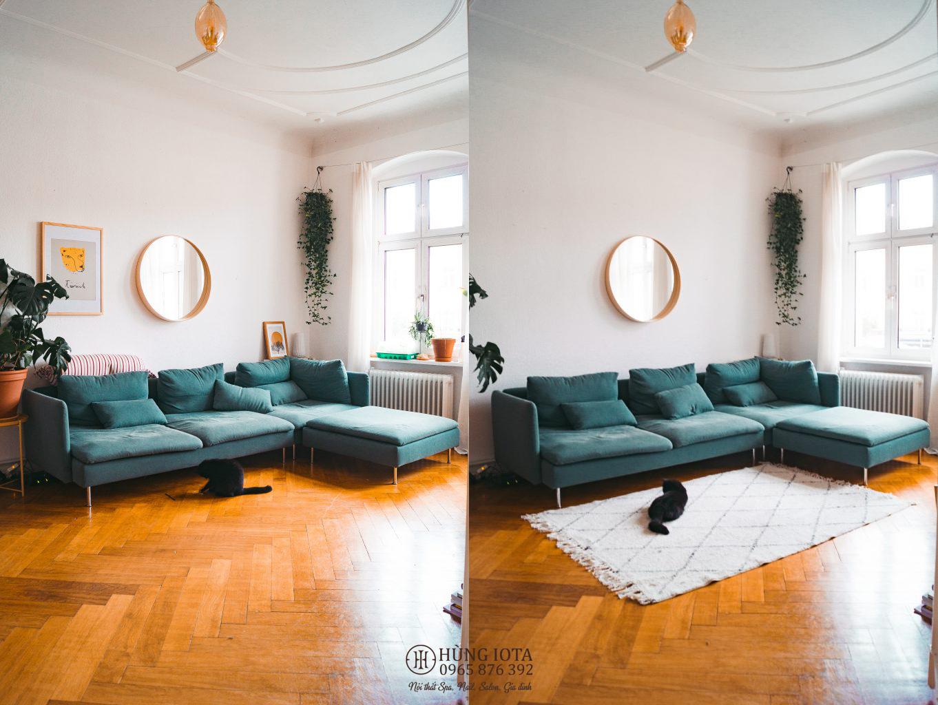 Sofa decor màu xanh lục đẹp cho chung cư đẹp sang trọng