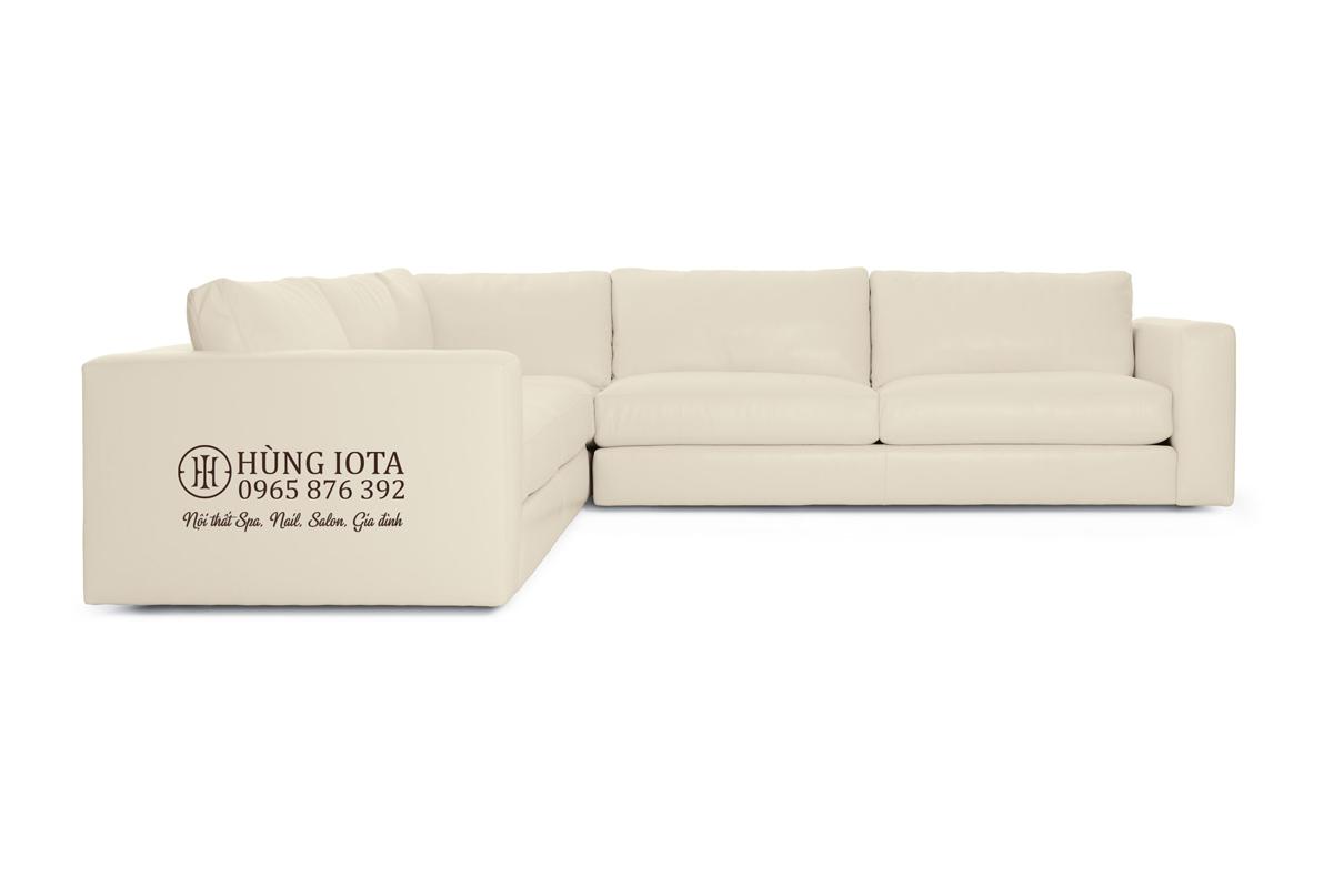Sofa gia đình chữ L chất da màu trắng sữa đẹp giá xưởng