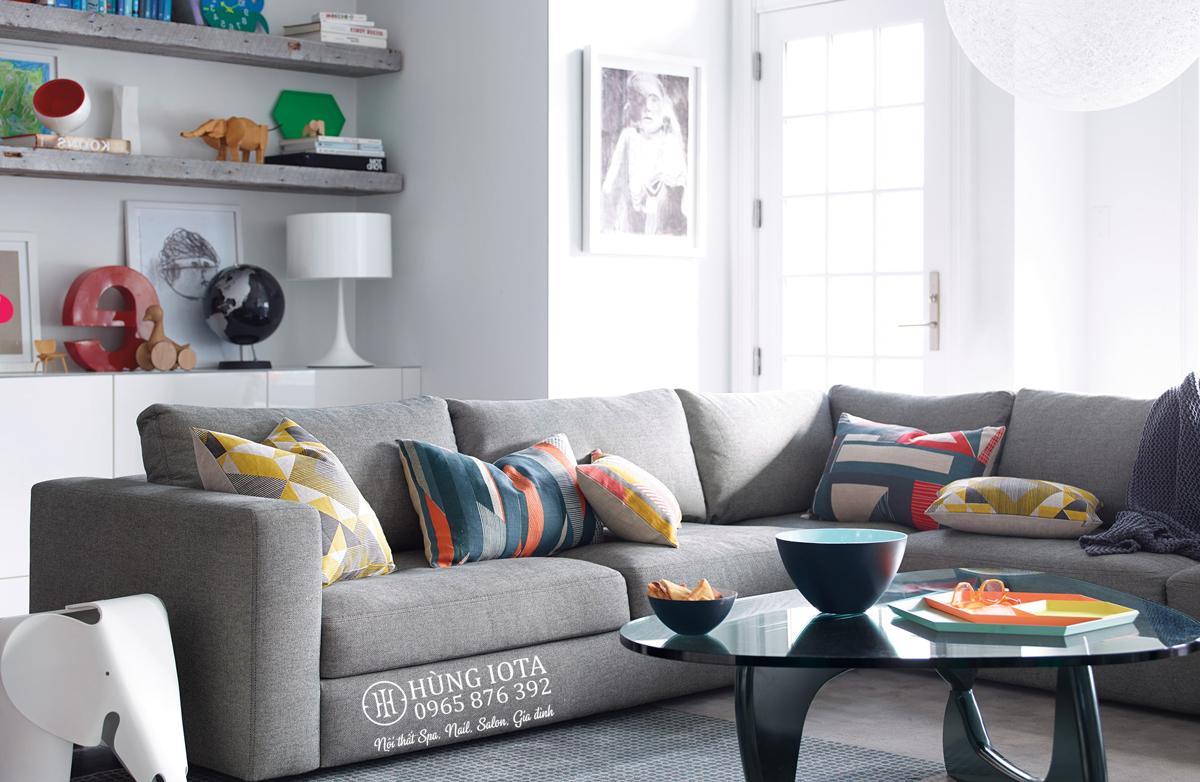 Sofa gia đình chữ L màu xám chất nỉ hay sofa đẹp giá rẻ tại xưởng