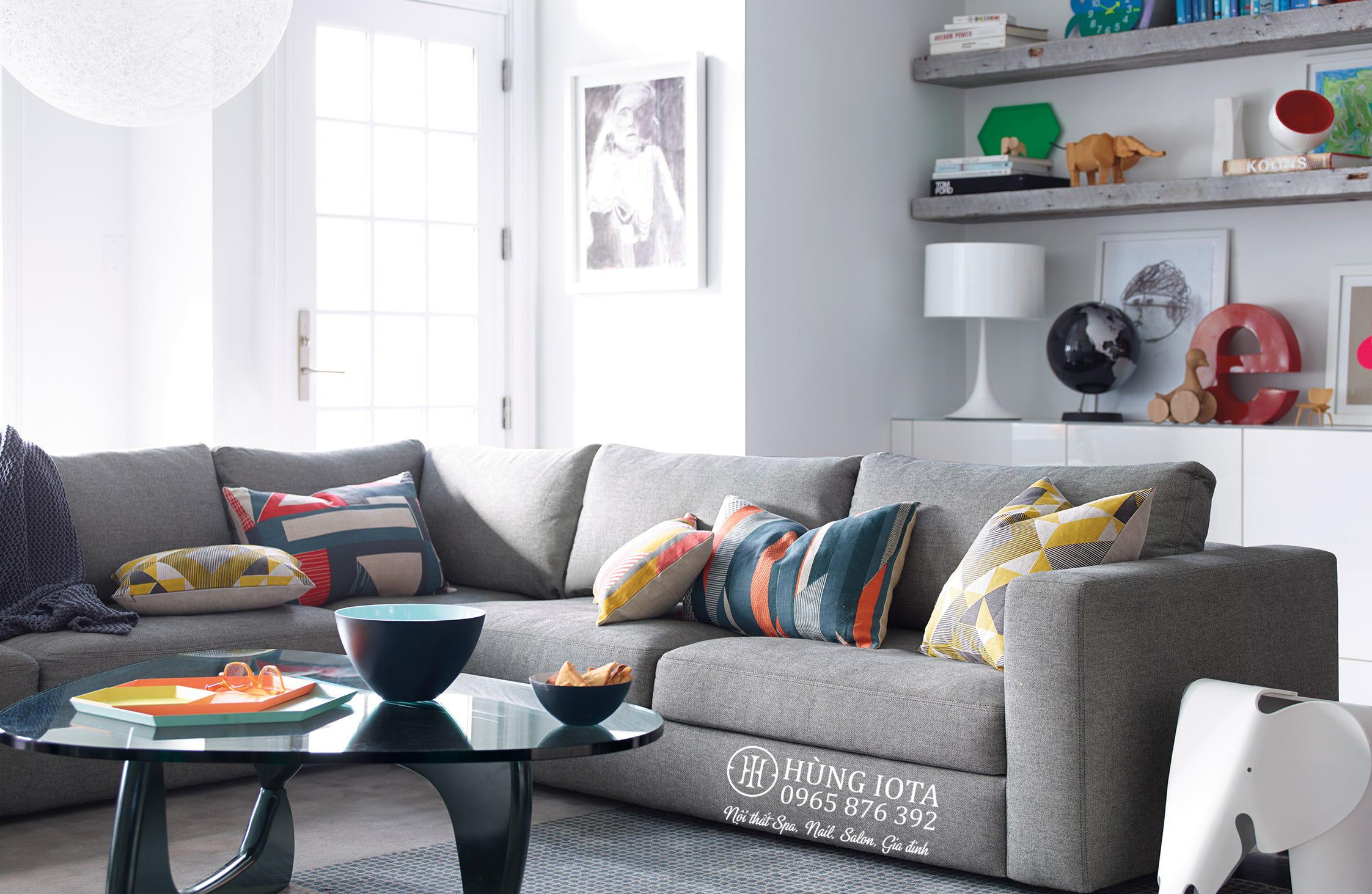 Sofa gia đình chữ L màu xám chất nỉ hay sofa đẹp giá tại xưởng