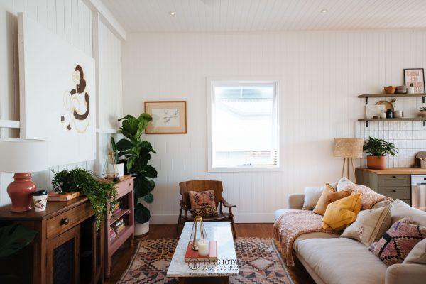 Sofa gia đình decor màu trắng hồng đẹp giá rẻ tại xưởng.