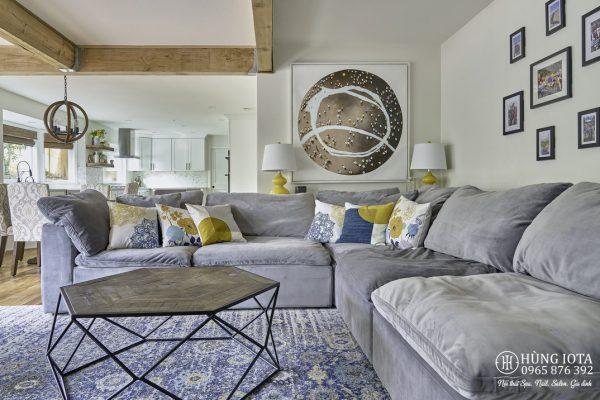 Sofa gia đình màu tím nhạt chữ L hay sofa chung cư màu tím nhạt đẹp giá rẻ