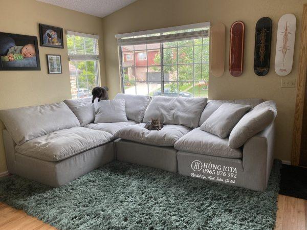 Sofa gia đình màu xám nhạt chữ L đẹp giá rẻ