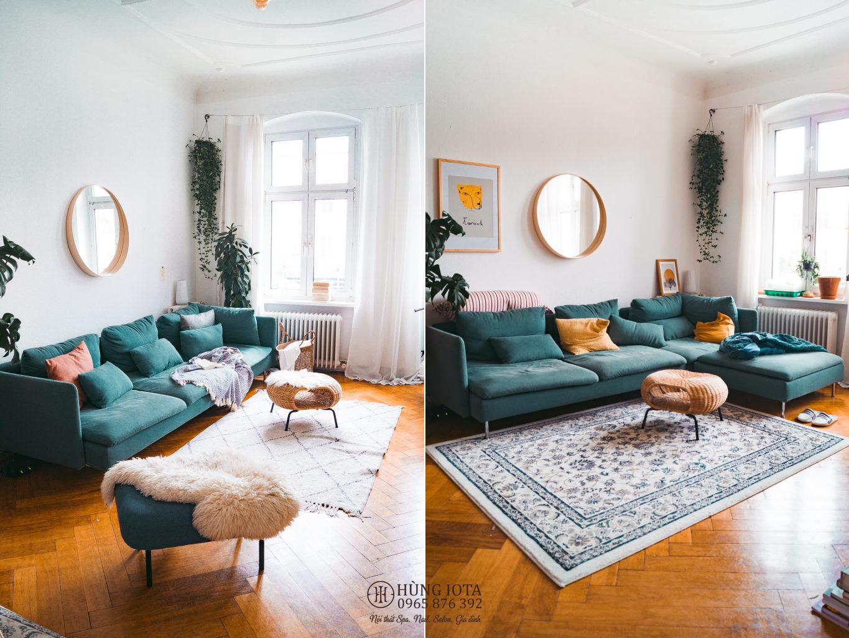 Sofa màu xanh lục cho gia đình spa thẩm mỹ viện, salon tóc