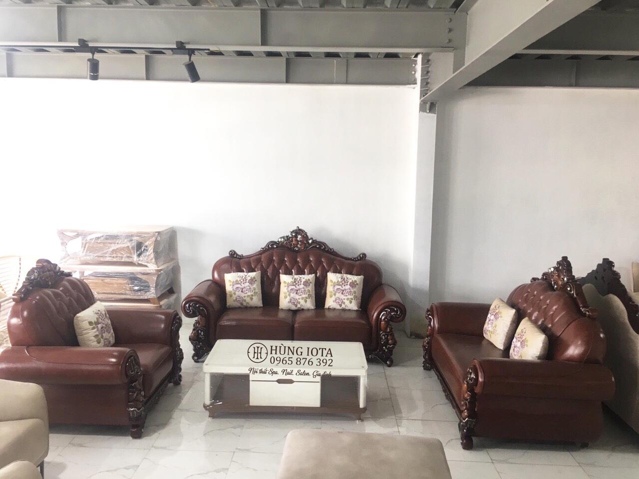 Sofa nhập khảu tân cổ điển bọc da màu nâu đẹp cao cấp sang trọng