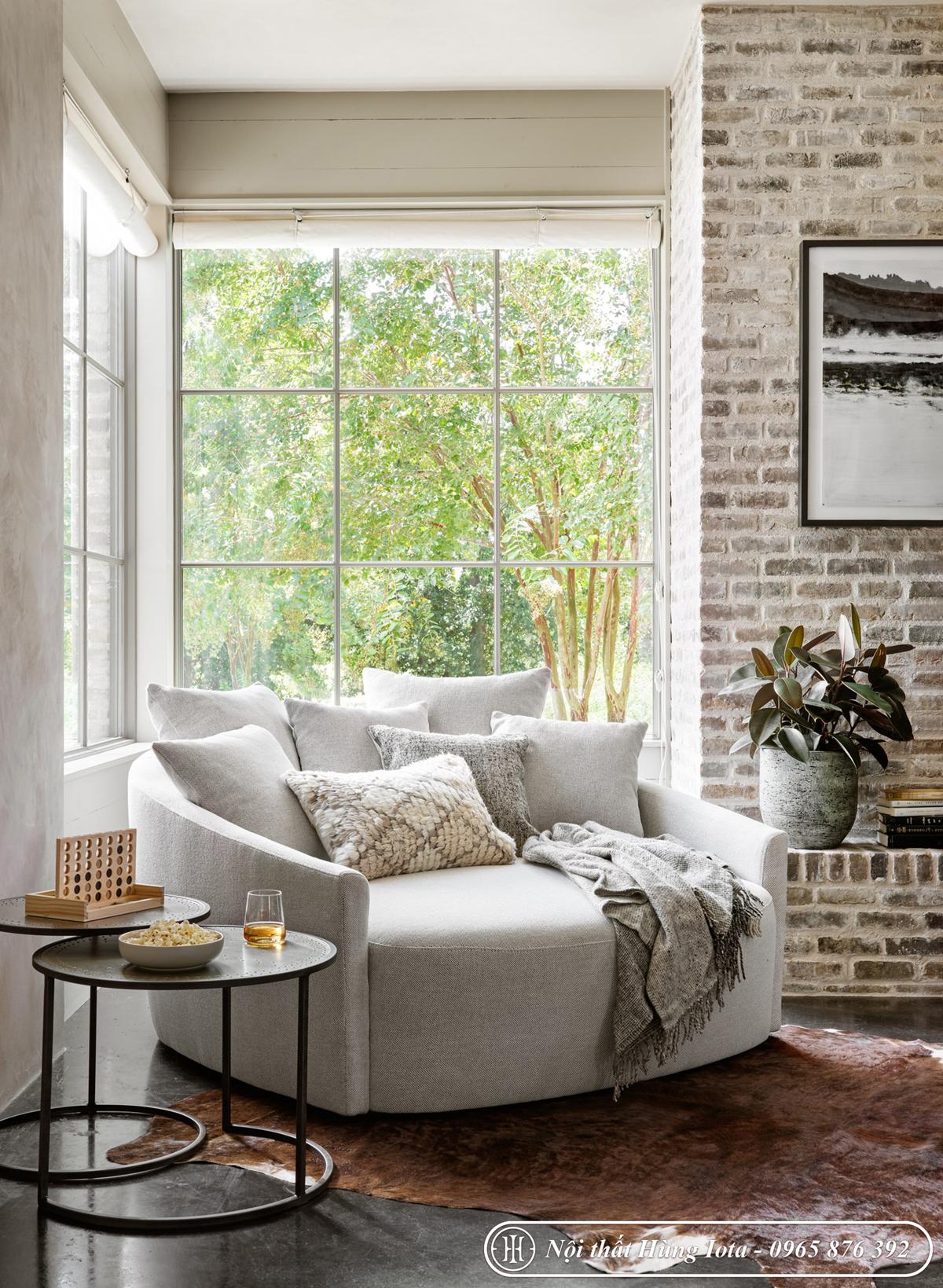 Sofa ôm cho gia đình đẹp giá rẻ màu trắng đục làm ghế đọc sách