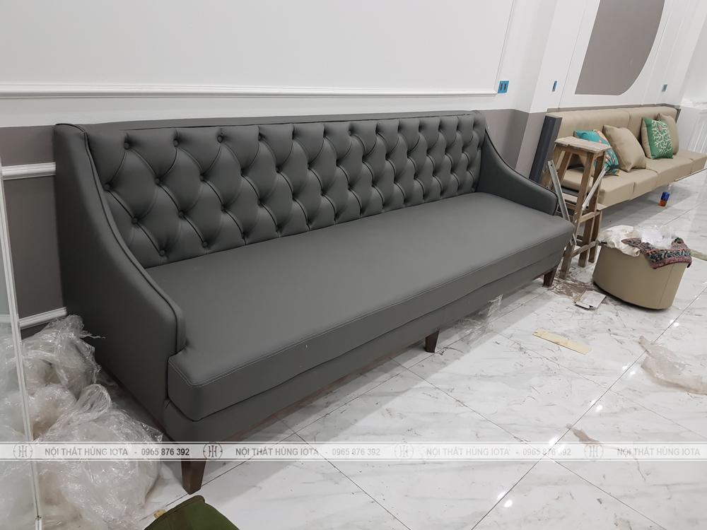Sofa spa tân cổ điển đẹp giá rẻ màu xám đen cho Last Spa
