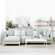 Ghế sofa chung cư chữ L decor màu xanh dương SFGD22
