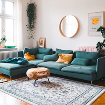 Sofa chung cư màu xanh lam phong cách decor SFGD15