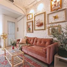 Sofa chung cư tân cổ điển đơn giản màu đỏ nỉ nhung SFGD19