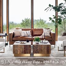 Sofa sang trọng chất da đẹp màu nâu SFGD27