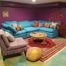 Ghế sofa gia đình chữ L màu xanh dương SFGD07