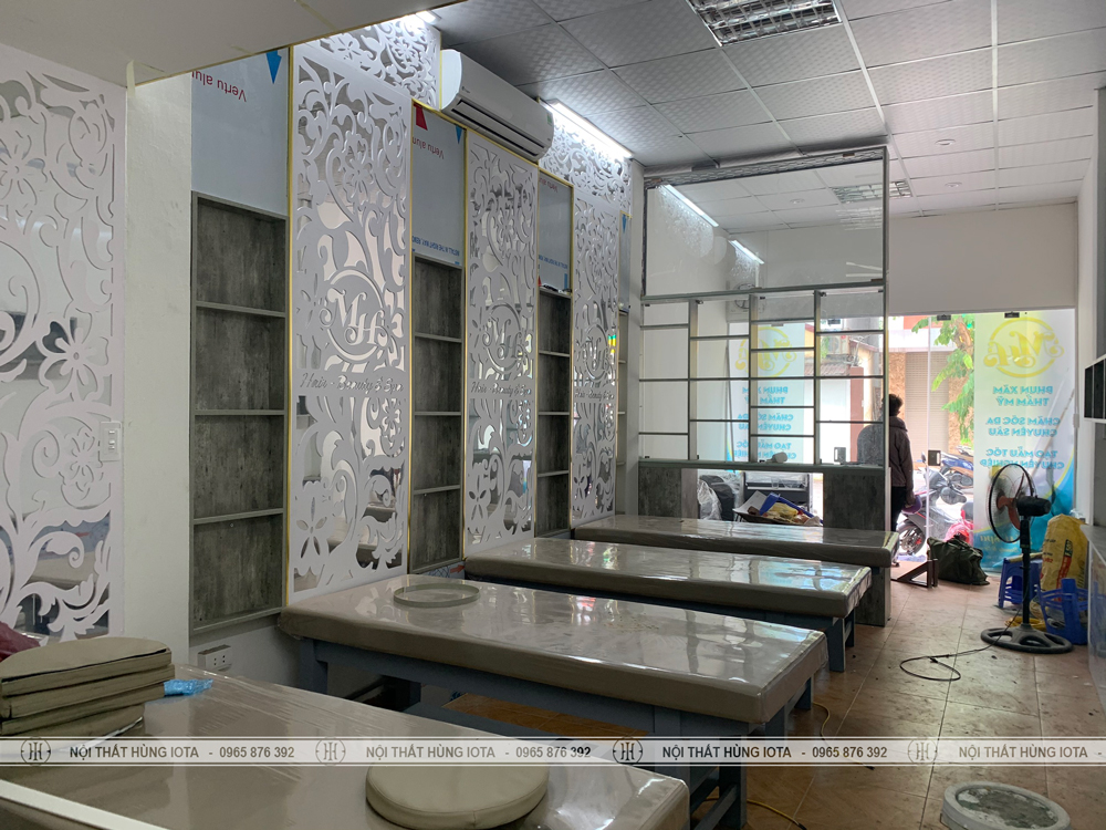 Lắp đặt tủ spa, giường spa, giường gội dưỡng sinh, tủ tường spa màu bê tông tại Long Biên