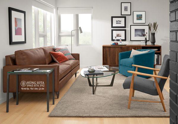 Sofa chung cư bọc da đẹp sang trọng màu cam