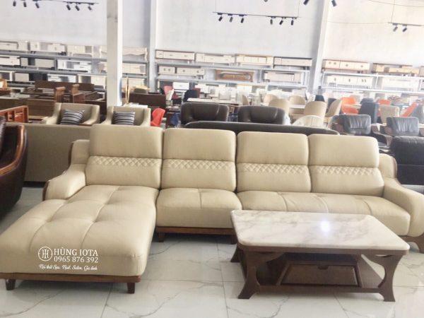 Sofa chung cư chữ L nhập khảu màu trắng sữa ngà vàng