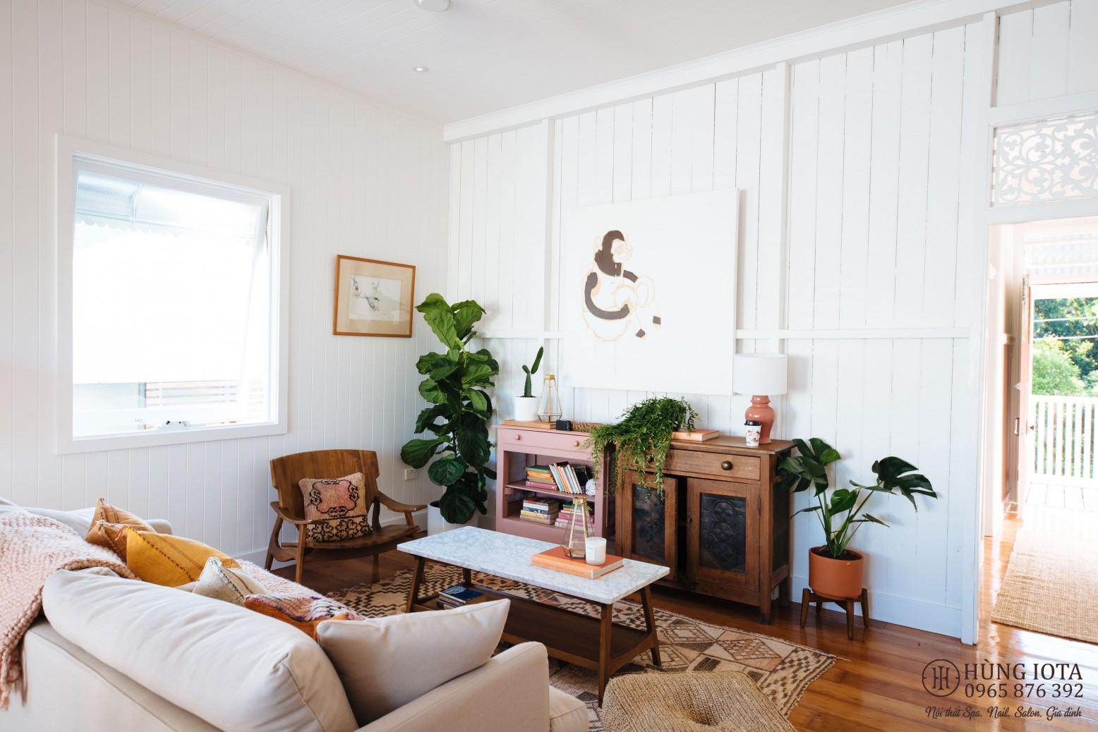 Sofa màu trắng hồng đẹp cho chung cư gia đình, spa, nail, salon tóc decor