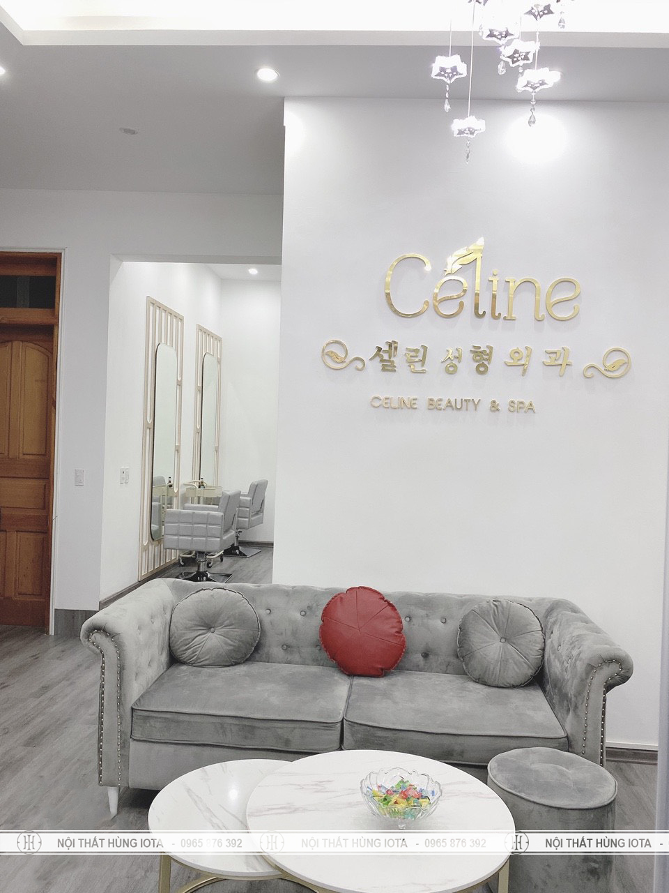 Sofa spa tân cổ điển đẹp màu xám cho Celine Beauty Spa