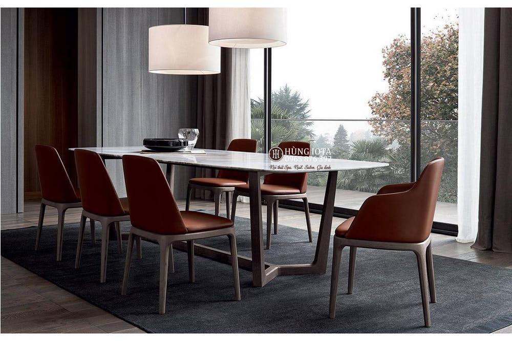 Bàn ghế ăn chung cư 6 ghế Grace, bàn mặt đá đẹp giá xưởng