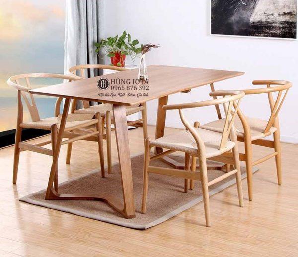 Bộ bàn ghế ăn chung cư 4 ghế Wishbone, bàn chân chữ M decor đẹp giá xưởng