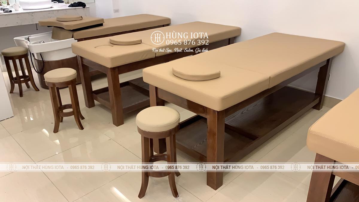 Ghế gỗ spa tròn đẹp chân quỳ sơn màu óc chó đẹp giá rẻ
