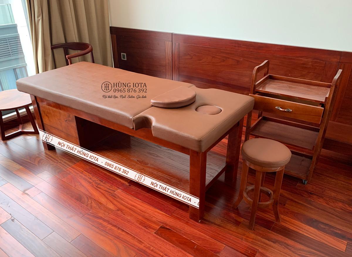 Giường massage màu đỏ giả gỗ hương cao cấp đẹp