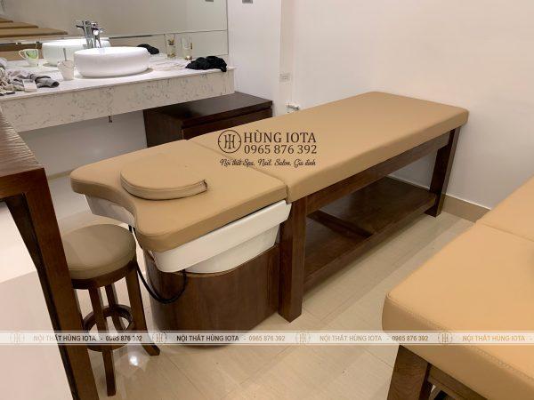 Giường spa 2 in 1 màu óc chó bồn sứ đẹp giá rẻ tại xưởng sản xuất