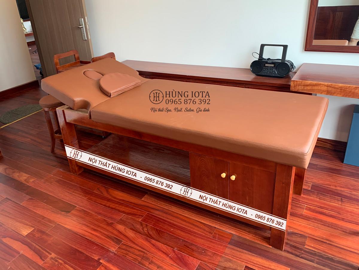 Giường spa, giường massage cao cấp cho khách sạn màu đỏ gỗ hương