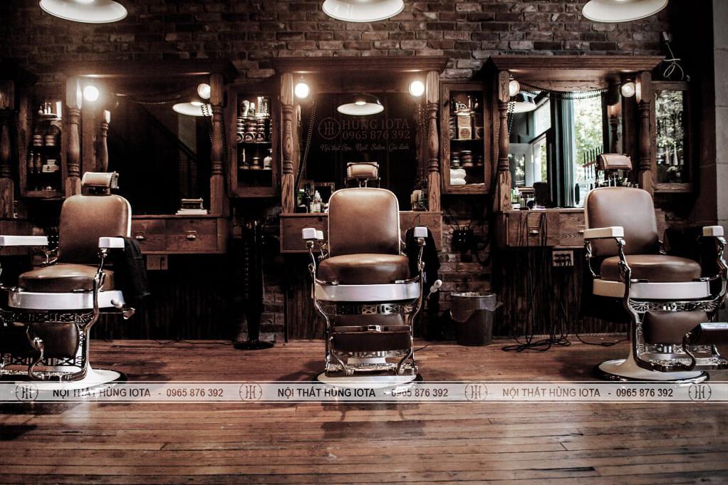 Gương barber tân cổ điển cắt tóc nam màu nâu gỗ đẹp giá rẻ
