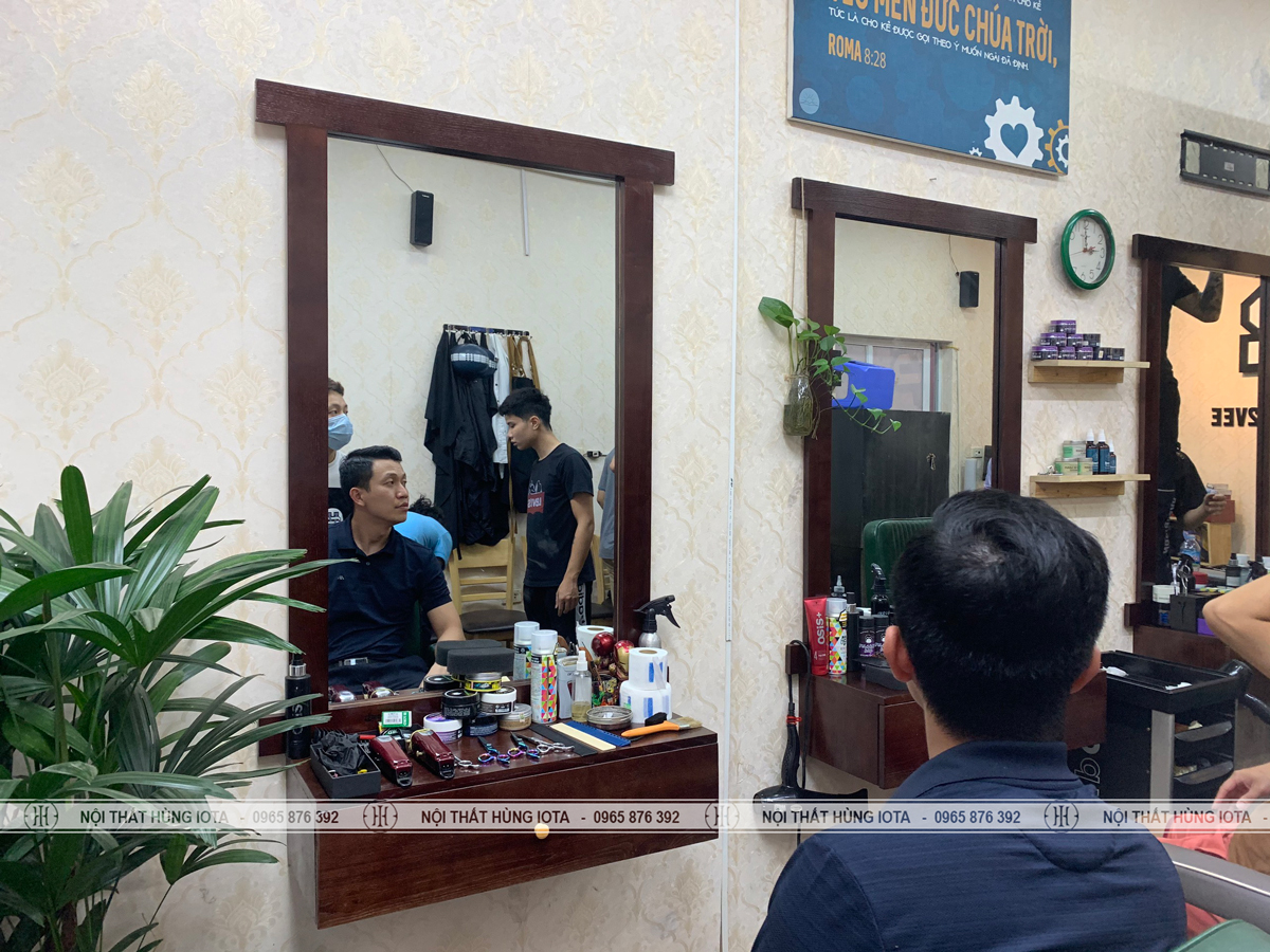 Gương cắt tóc nam barber hình chữ nhật, tủ treo tường đẹp giá rẻ